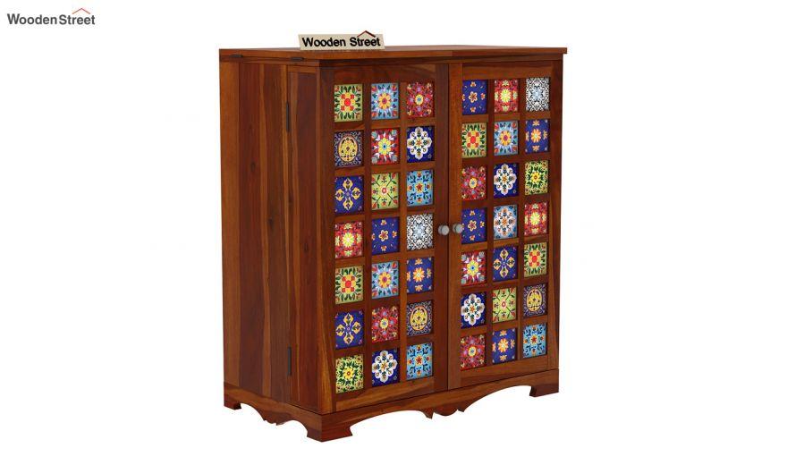 Boho Bar Cabinet (Honey Finish)-7