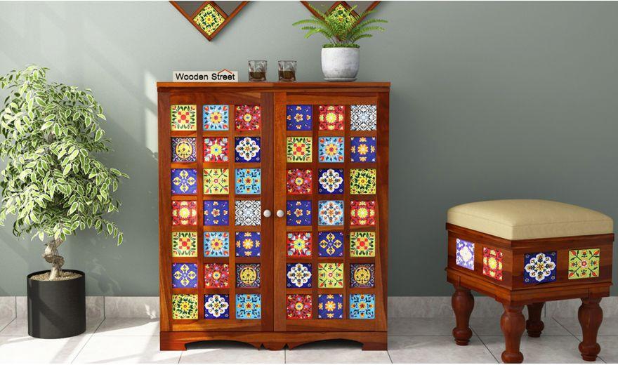 Boho Bar Cabinet (Honey Finish)-2