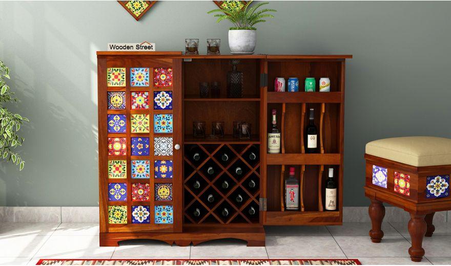 Boho Bar Cabinet (Honey Finish)-3