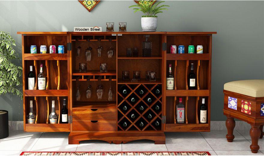 Boho Bar Cabinet (Honey Finish)-4