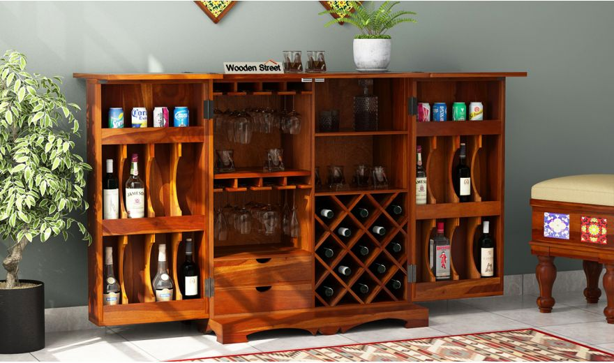 Boho Bar Cabinet (Honey Finish)-5