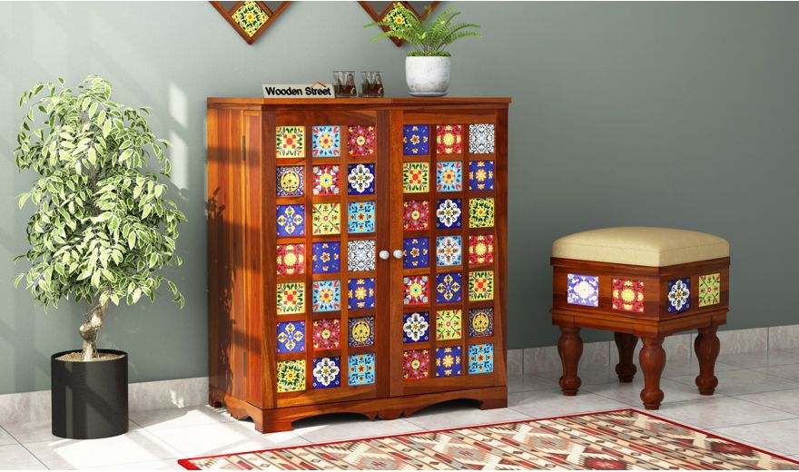 Boho Bar Cabinet (Honey Finish)-1