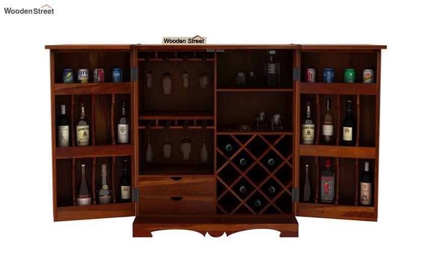 Boho Bar Cabinet (Honey Finish)-8