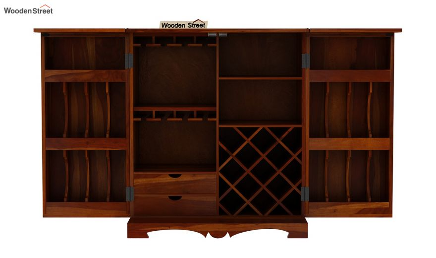 Boho Bar Cabinet (Honey Finish)-9
