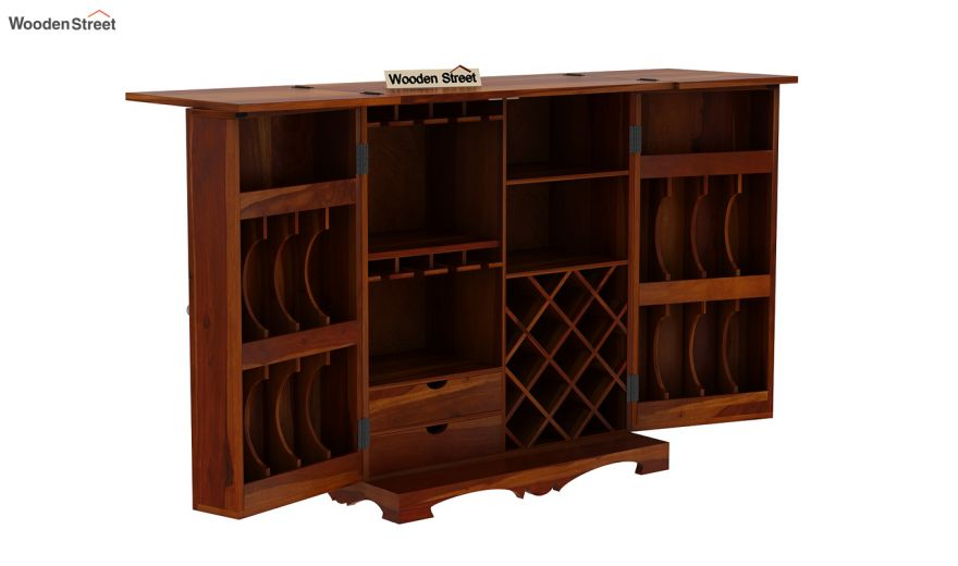 Boho Bar Cabinet (Honey Finish)-10