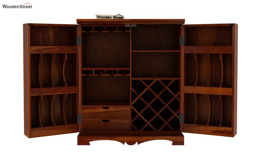 Boho Bar Cabinet (Honey Finish)-11