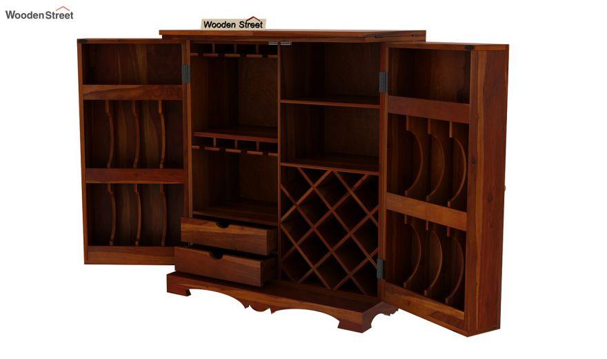 Boho Bar Cabinet (Honey Finish)-12