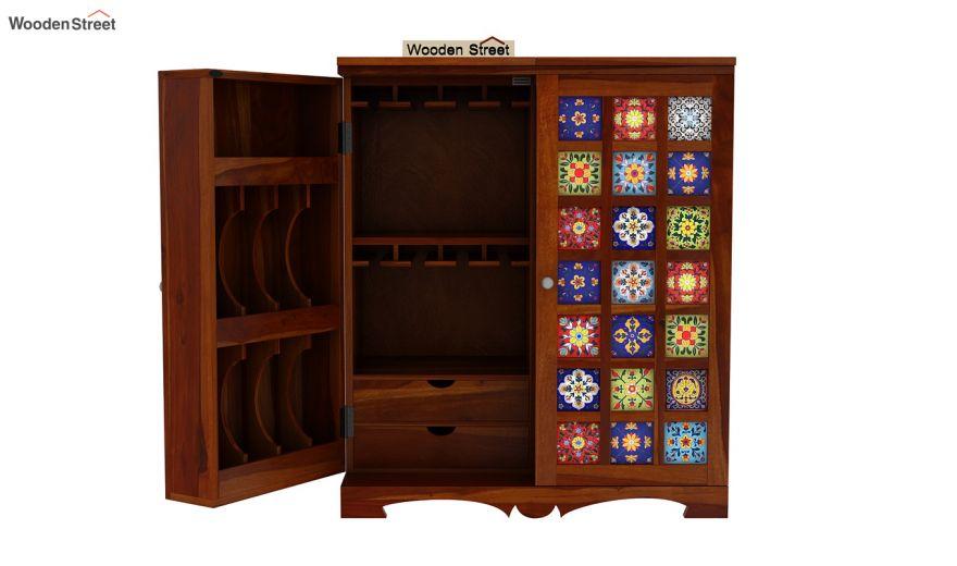 Boho Bar Cabinet (Honey Finish)-13