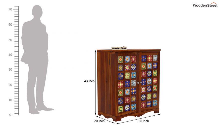 Boho Bar Cabinet (Honey Finish)-14