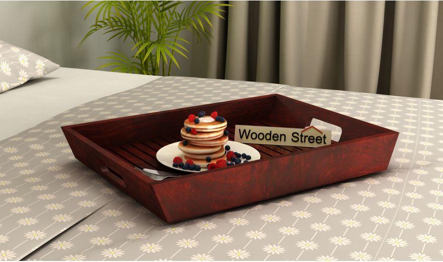 Krato Wooden Tray (Mahogany Finish)-1