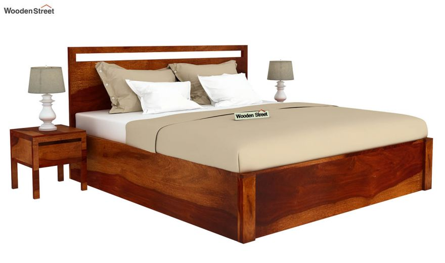 Bacon Hydraulic Bed With Storage (Queen Size, Honey Finish)-2