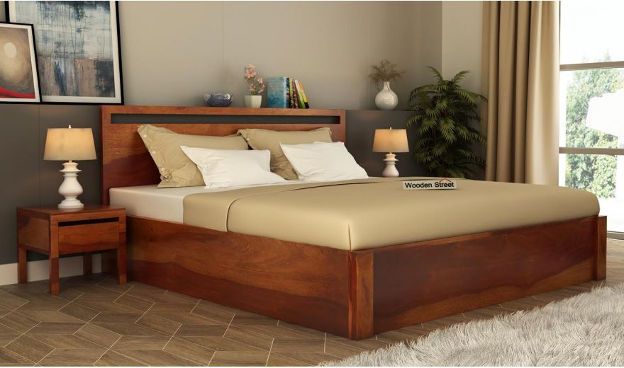 Bacon Hydraulic Bed With Storage (Queen Size, Honey Finish)-1