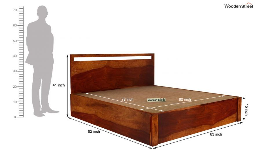 Bacon Hydraulic Bed With Storage (Queen Size, Honey Finish)-6