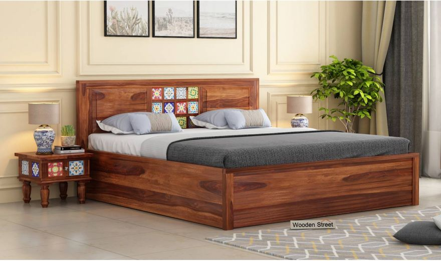 Boho Hydraulic Bed (Queen Size, Teak Finish)-1