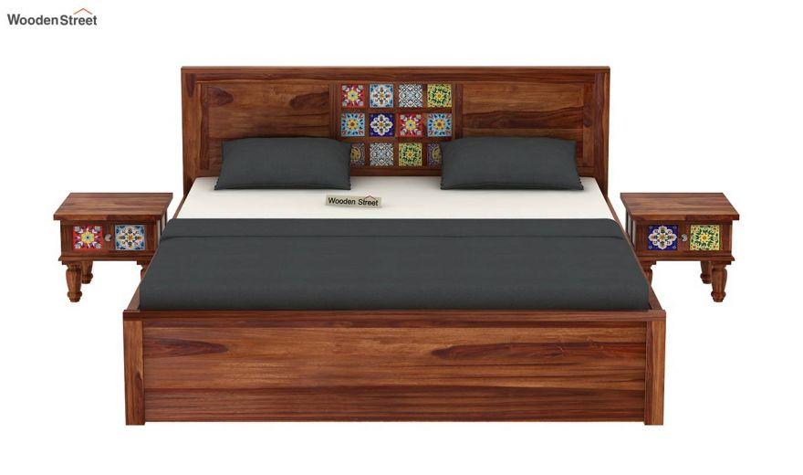 Boho Hydraulic Bed (King Size, Teak Finish)-3