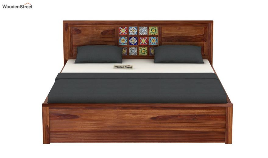 Boho Hydraulic Bed (Queen Size, Teak Finish)-5