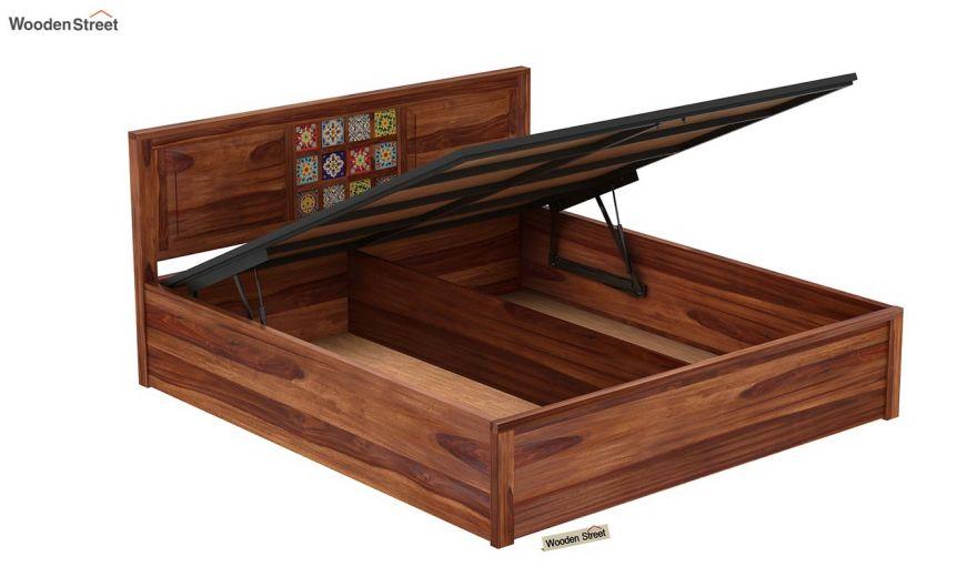 Boho Hydraulic Bed (King Size, Teak Finish)-6