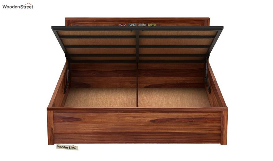 Boho Hydraulic Bed (Queen Size, Teak Finish)-7