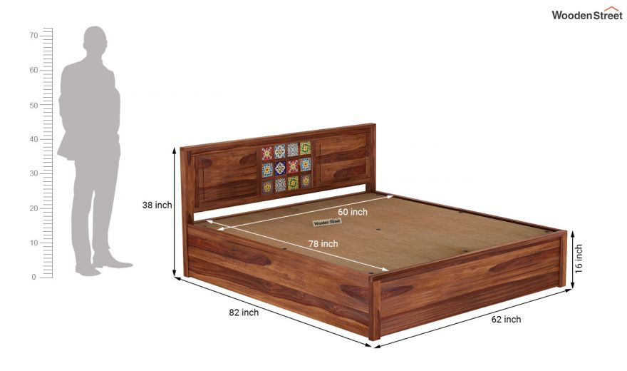 Boho Hydraulic Bed (Queen Size, Teak Finish)-9