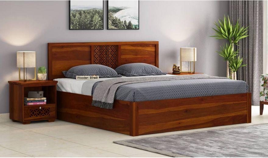 Cambrey Hydraulic Bed (King Size, Honey Finish)-1