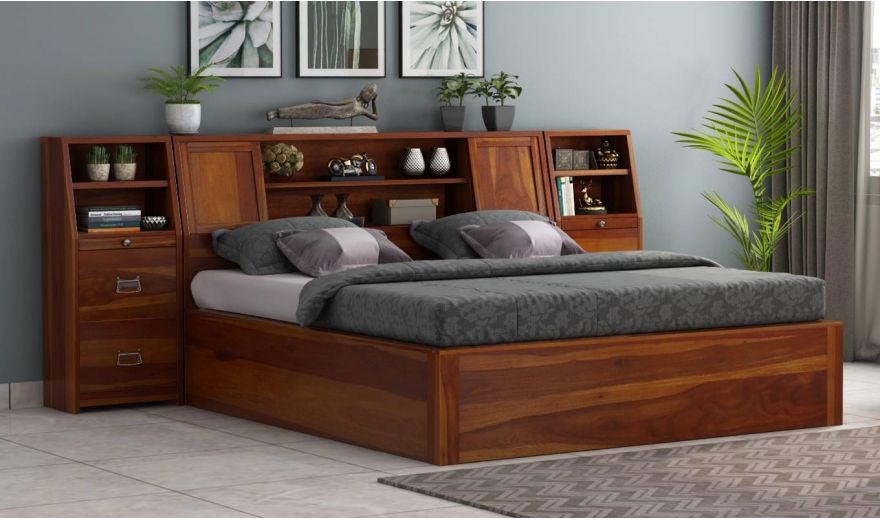 Harley Hydraulic Bed with Bedside (King Size, Honey Finish)-1