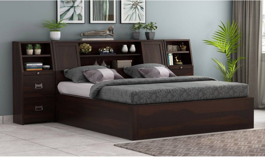 Harley Hydraulic Bed with Bedside (Queen Size, Walnut Finish)-1