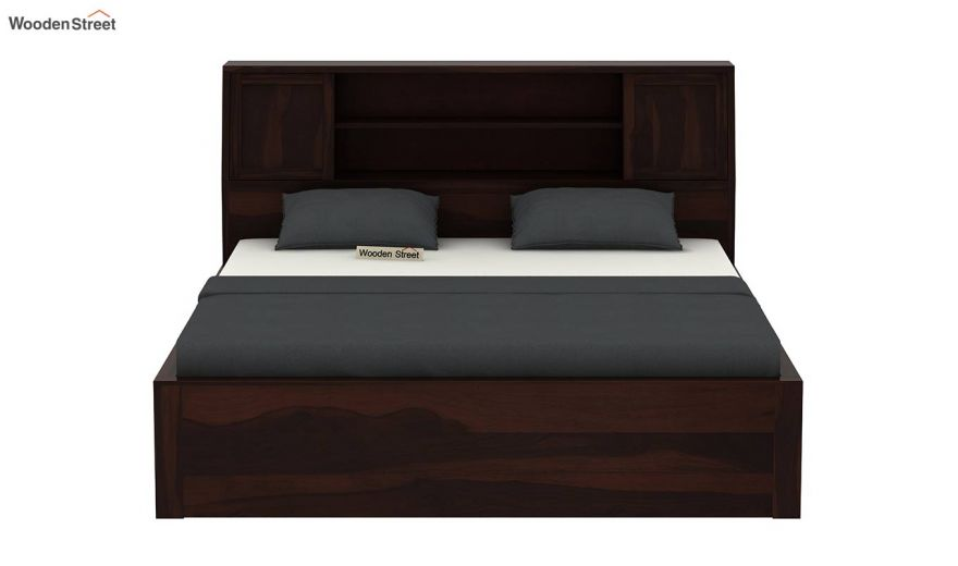 Harley Hydraulic Bed with Bedside (Queen Size, Walnut Finish)-5