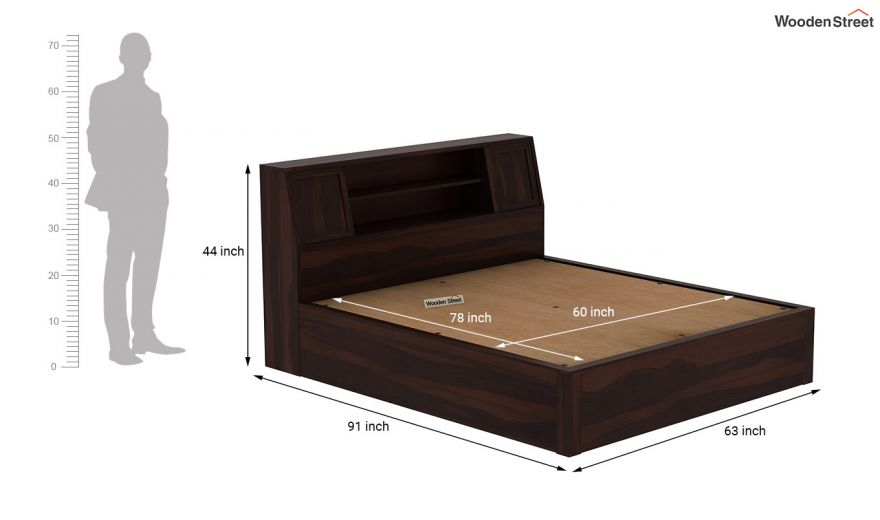 Harley Hydraulic Bed with Bedside (Queen Size, Walnut Finish)-9