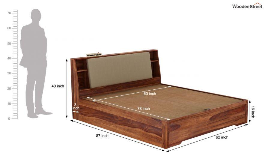 Telos Hydraulic Bed (Queen Size,Teak Finish)-11