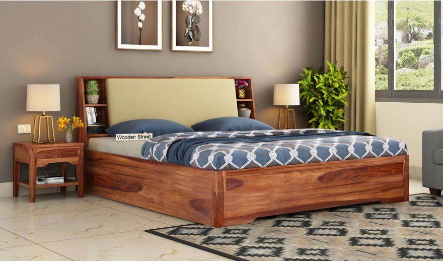 Telos Hydraulic Bed (Queen Size,Teak Finish)-1