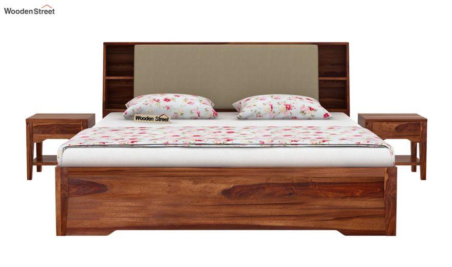Telos Hydraulic Bed (Queen Size,Teak Finish)-3