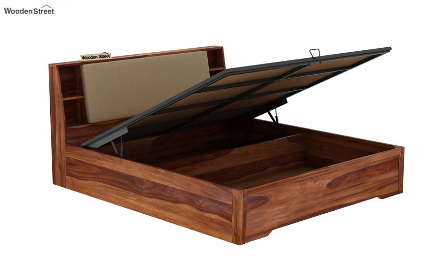 Telos Hydraulic Bed (Queen Size,Teak Finish)-8