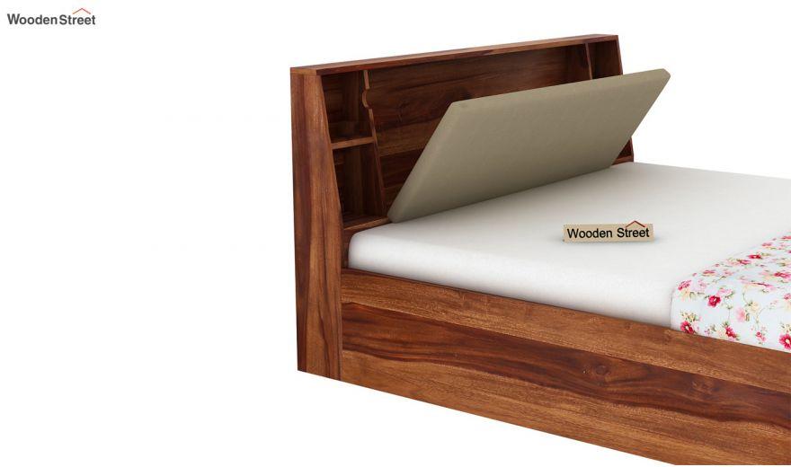 Telos Hydraulic Bed (Queen Size,Teak Finish)-10