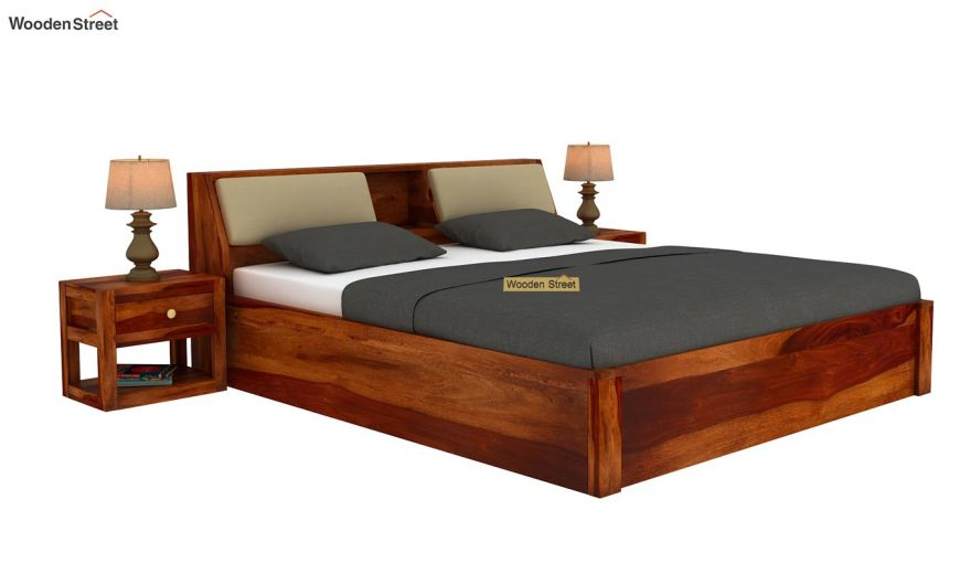 Walken Hydraulic Bed (Queen Size, Honey Finish)-2