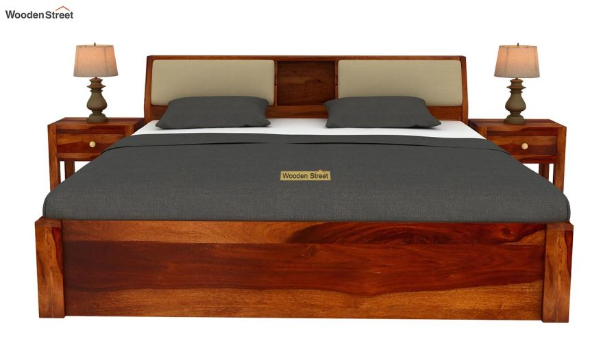 Walken Hydraulic Bed (Queen Size, Honey Finish)-3