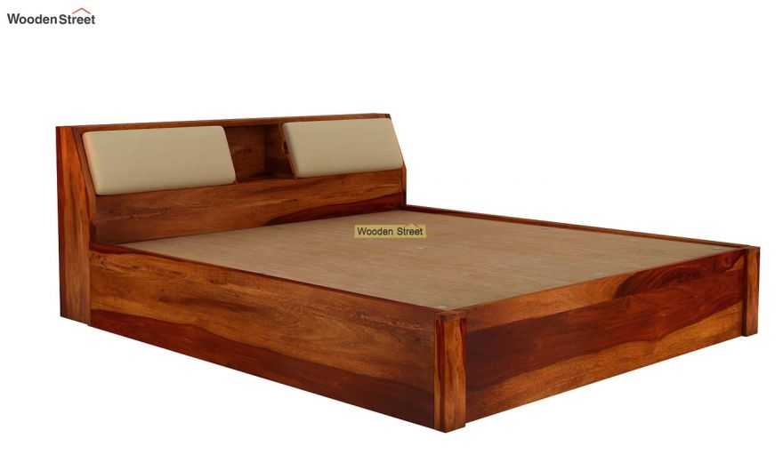 Walken Hydraulic Bed (Queen Size, Honey Finish)-7