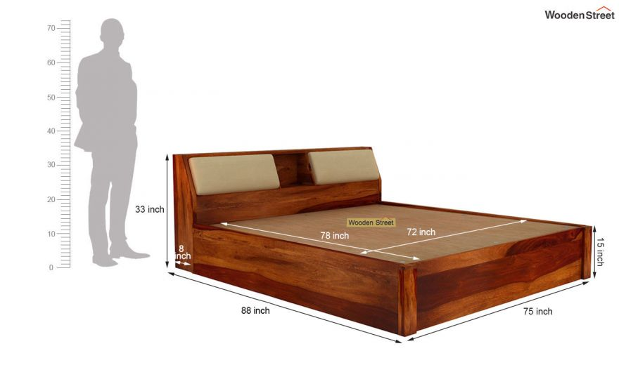 Walken Hydraulic Bed (King Size, Honey Finish)-8