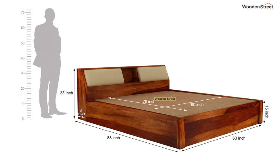 Walken Hydraulic Bed (Queen Size, Honey Finish)-8