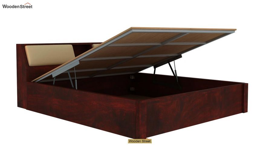 Walken Hydraulic Bed (Queen Size, Mahogany Finish)-6