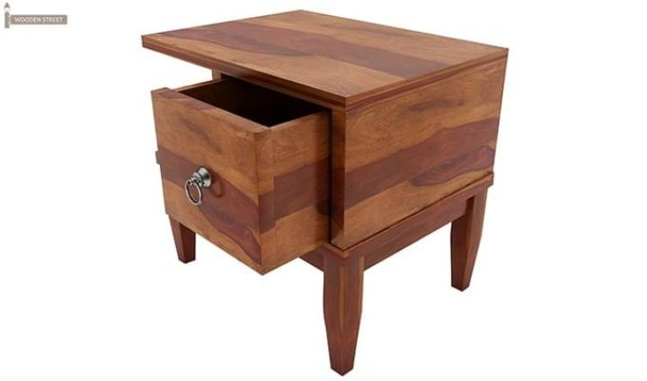 Helix Bedside Table (Honey Finish)-3