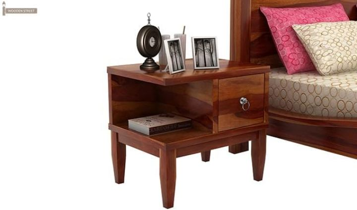 Helix Bedside Table (Honey Finish)-2