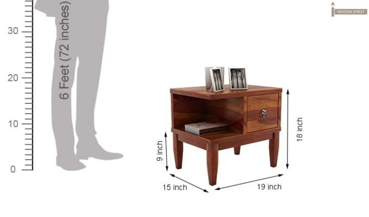 Helix Bedside Table (Honey Finish)-6