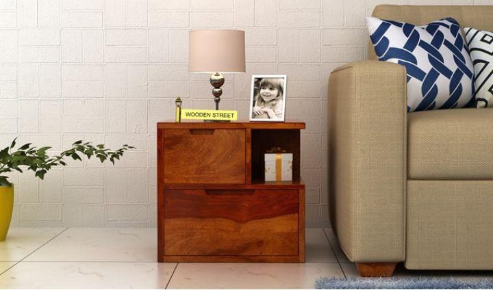 Adrian Bedside Table (Honey Finish)-1