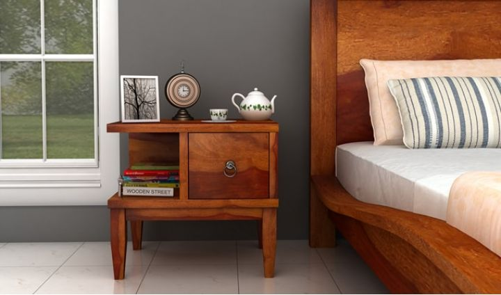 Helix Bedside Table (Honey Finish)-1