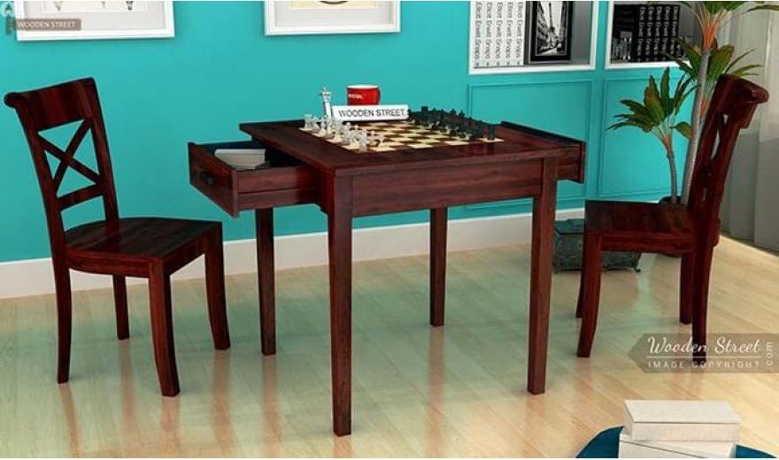 Aldore 2 Seater Dining Table Set (Mahogany Finish)-1