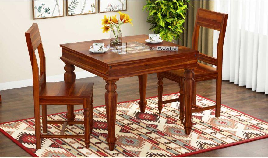 Boho 2 Seater Dining Set (Honey Finish)-1