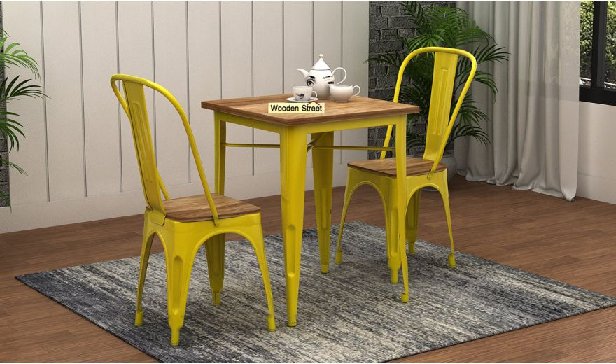 Cora Metal 2 Seater Dining Set (Natural Finish)-1