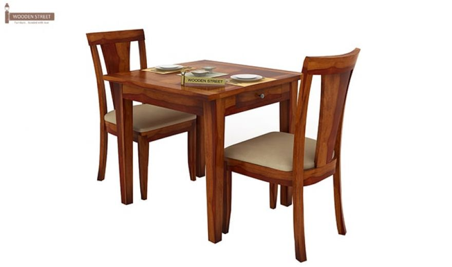 Mcbeth Storage 2 Seater Dining Table Set (Honey Finish)-2