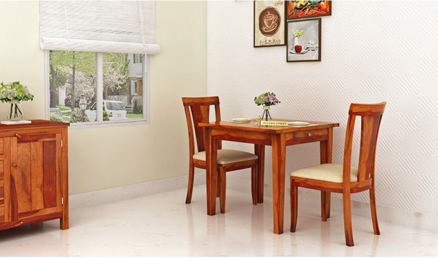 Mcbeth Storage 2 Seater Dining Table Set (Honey Finish)-1