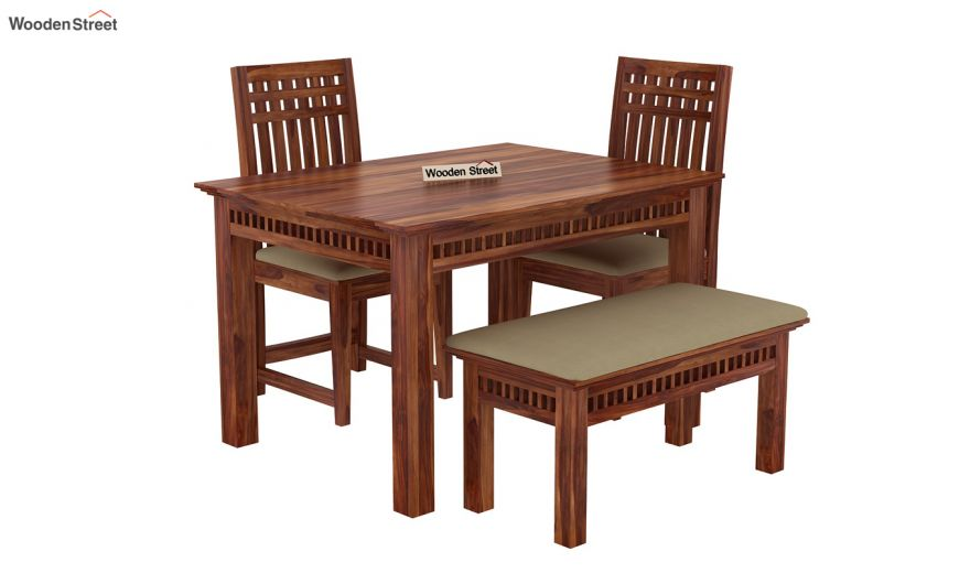 Adolph Compact 4 Seater Dining Set with Bench (Teak Finish)-4